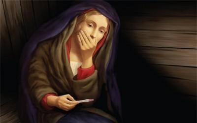 Vergine maria, la madonna fa il test di gravidanza, maria vergine, chiesa san matteo in città, nuova zelanda, madonna test pubblicità natale